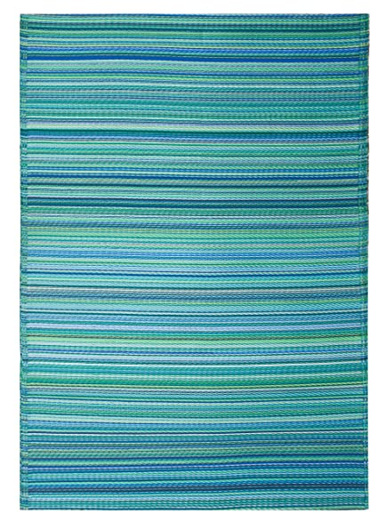 Fab Habitat Cancun Indoor/Outdoor Rug, Turquoise U0026 Moss Green, (4u0027
