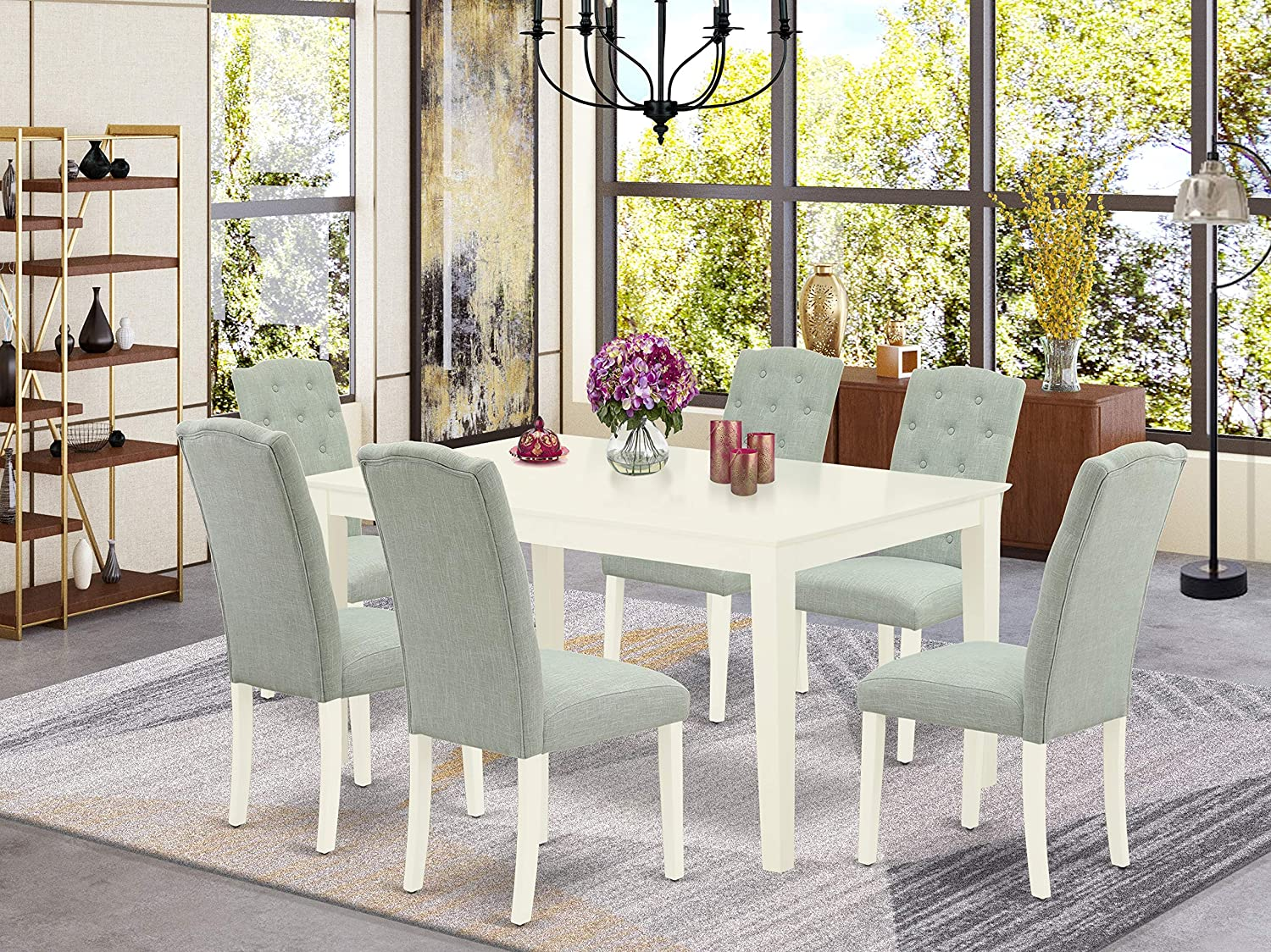 Amazon Com East West Furniture Cace7 Lwh 15 7pc Dinette Set Includes A Rectangular Kitchen Table And Six Parson Chairs With Baby Blue Fabric Linen White Finish Table Chair Sets