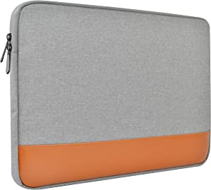 LuvCase Laptop Canvas Leather Sleeve Case Protective Bag with Pocket Handle Compatible MacBook Pro 15-16 Inch, A2141/A1707/A1990/A1398/A1286, Chromebook, Acer, Thinkpad HP Notebook (Grey)