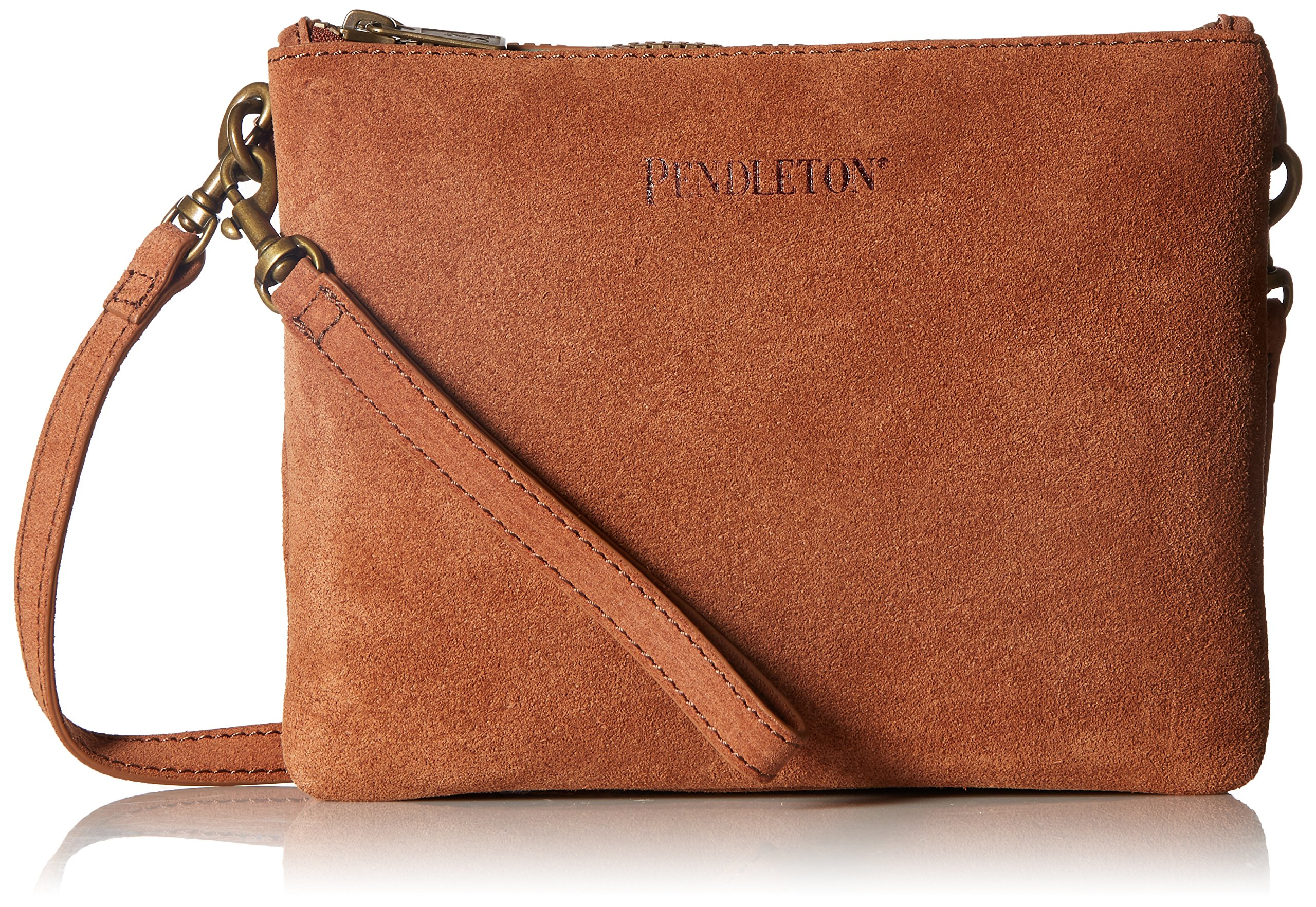 Pendleton Women's Suede Crossbody, Brown/Aqua, One Size