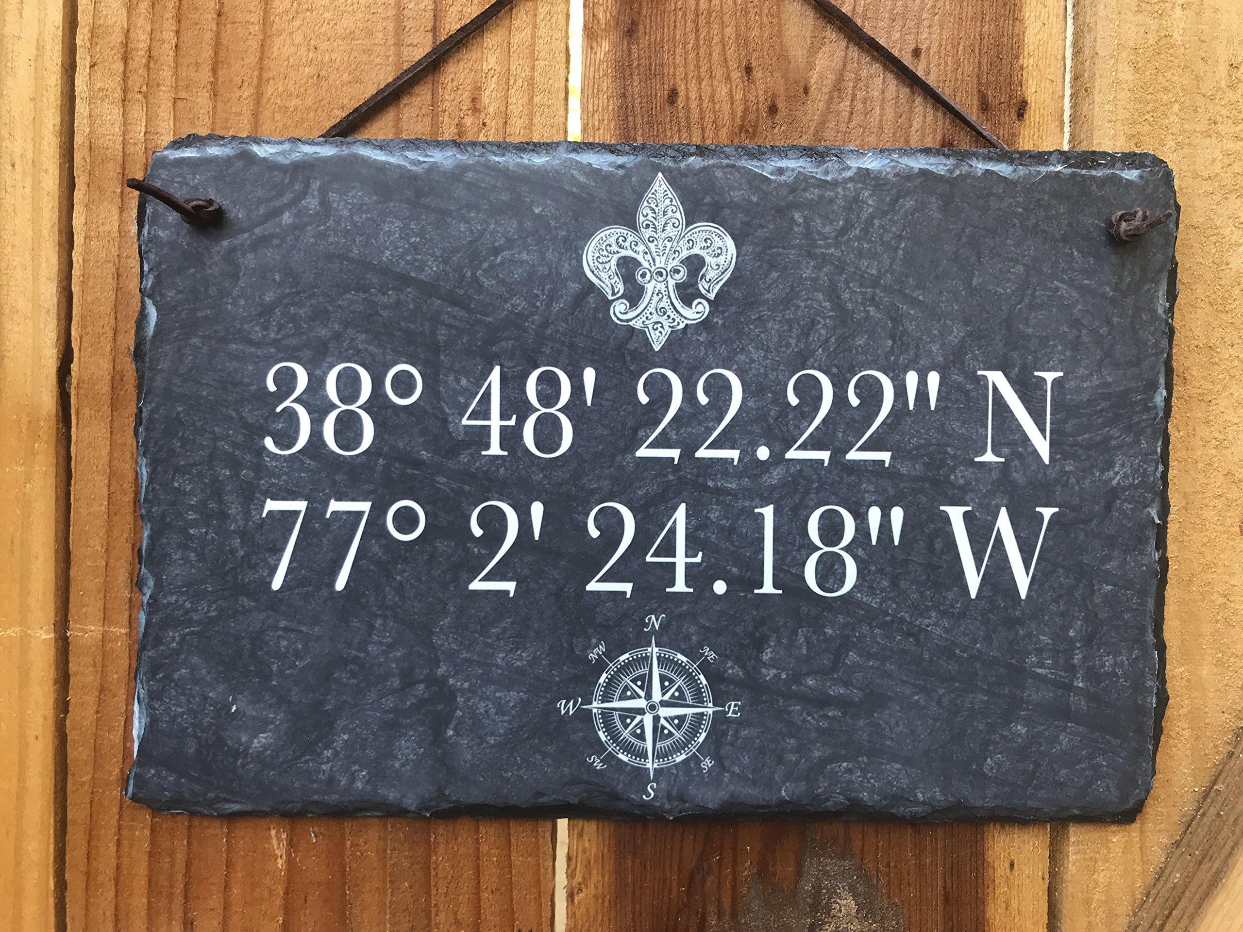 Sassy Squirrel Longitude Latitude Slate House Sign - Home Address Plaque