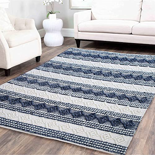 Area Rug Hand Woven Wool Cotton Geometric Diamond Pattern Boho Premium Rug