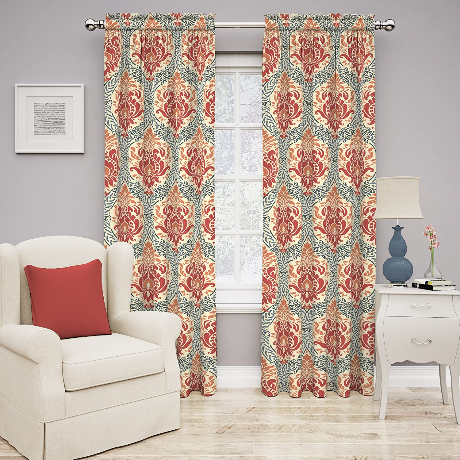 Damask curtains living room - Amazon Com Traditions By Waverly 14975052084pop Dressed Up Damask 52 Inch By 84 Inch Single Window Curtain Panel Poppy Home Kitchen