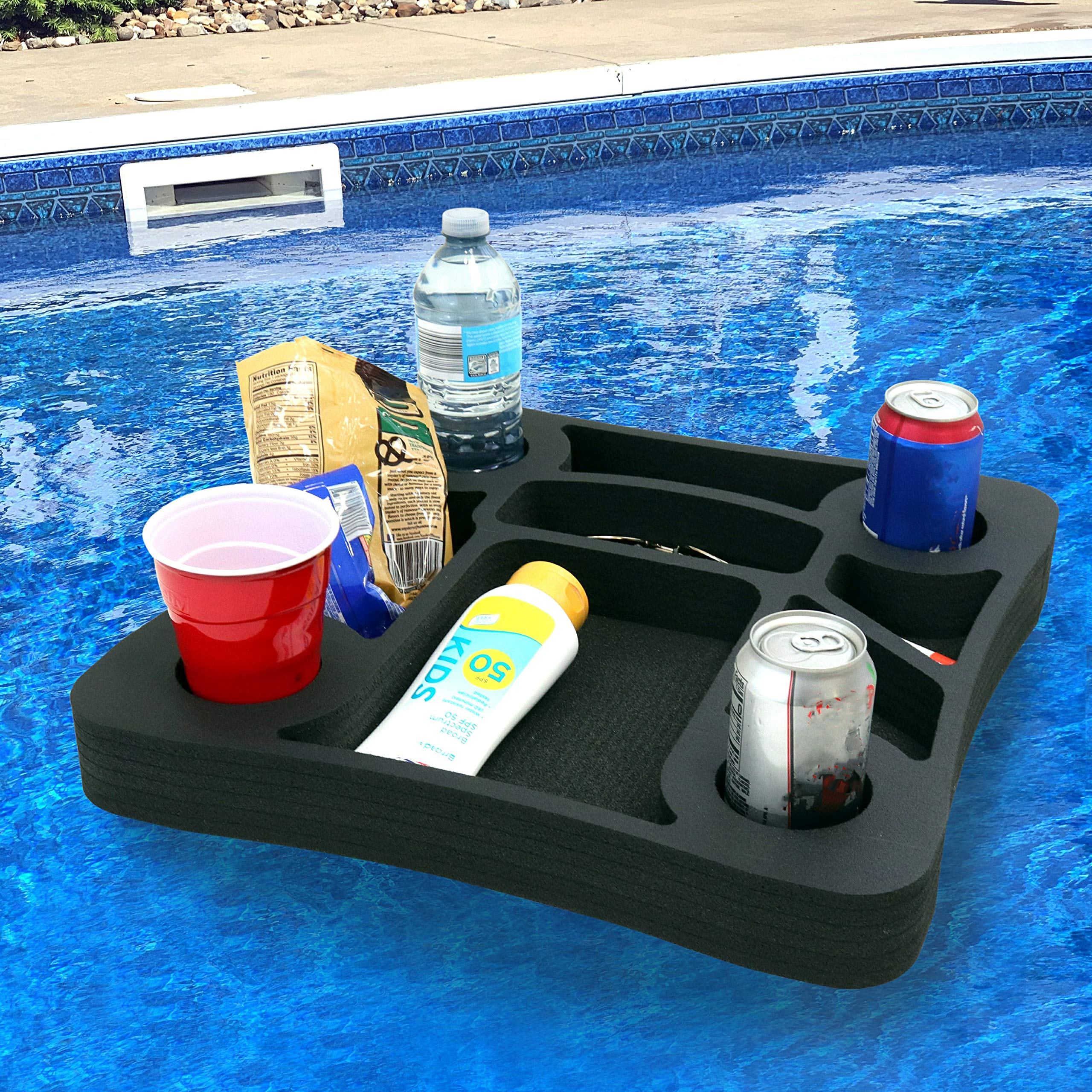 Polar Whale Floating Drink Holder Refreshment Table Tray for Pool or Beach Party Float Lounge Durable Foam 17.5 Inches Large 10 Compartments UV Resistant Made in USA by Polar Whale