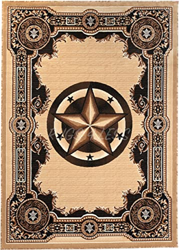 Rugs 4 Less Collection Texas Lone Star State Novelty Area Rug Berber Beige 723 5 X7