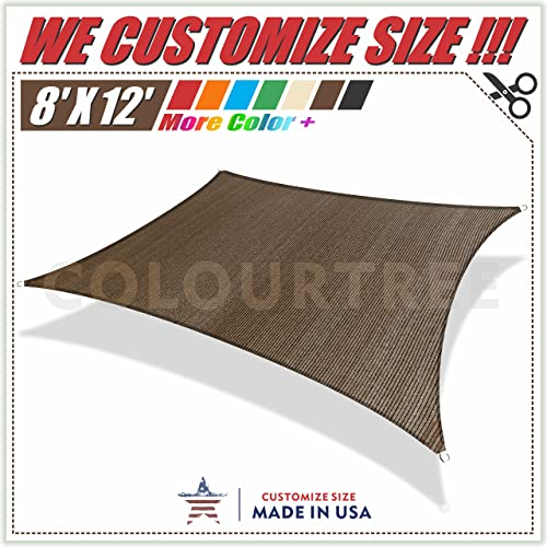 ColourTree 8' x 12' Sun Shade Sail Rectangle Brown Canopy Awning Shelter Fabric Cloth Screen UV Block UV Water Resistant Heavy Duty Commercial Grade Outdoor Patio Carport CUSTOM SIZE AVAILABLE