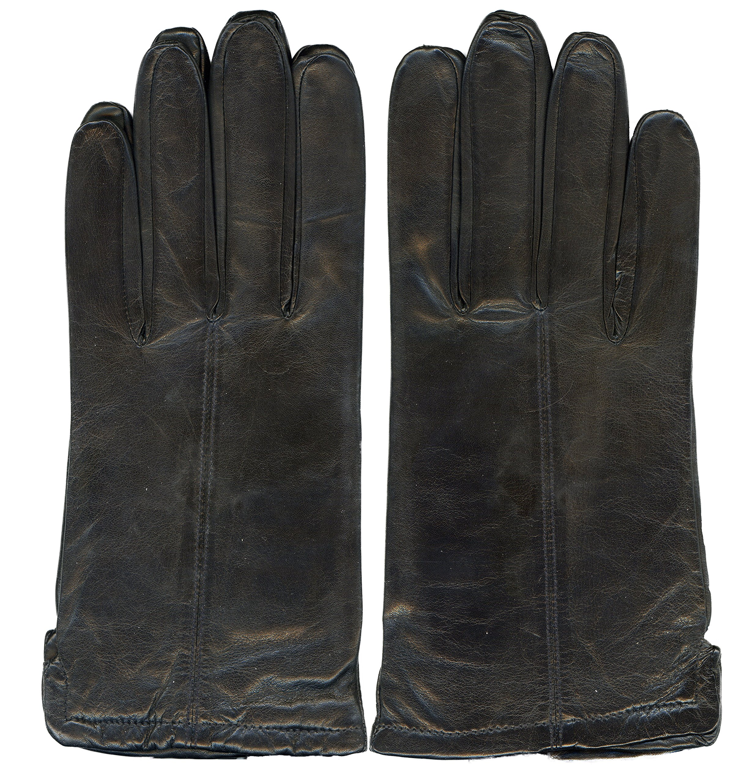 GRANDOE Men's LINCOLN 100% Sheepskin Leather Glove, CASHMERE Lambswool Lining, Color Black, Size XL