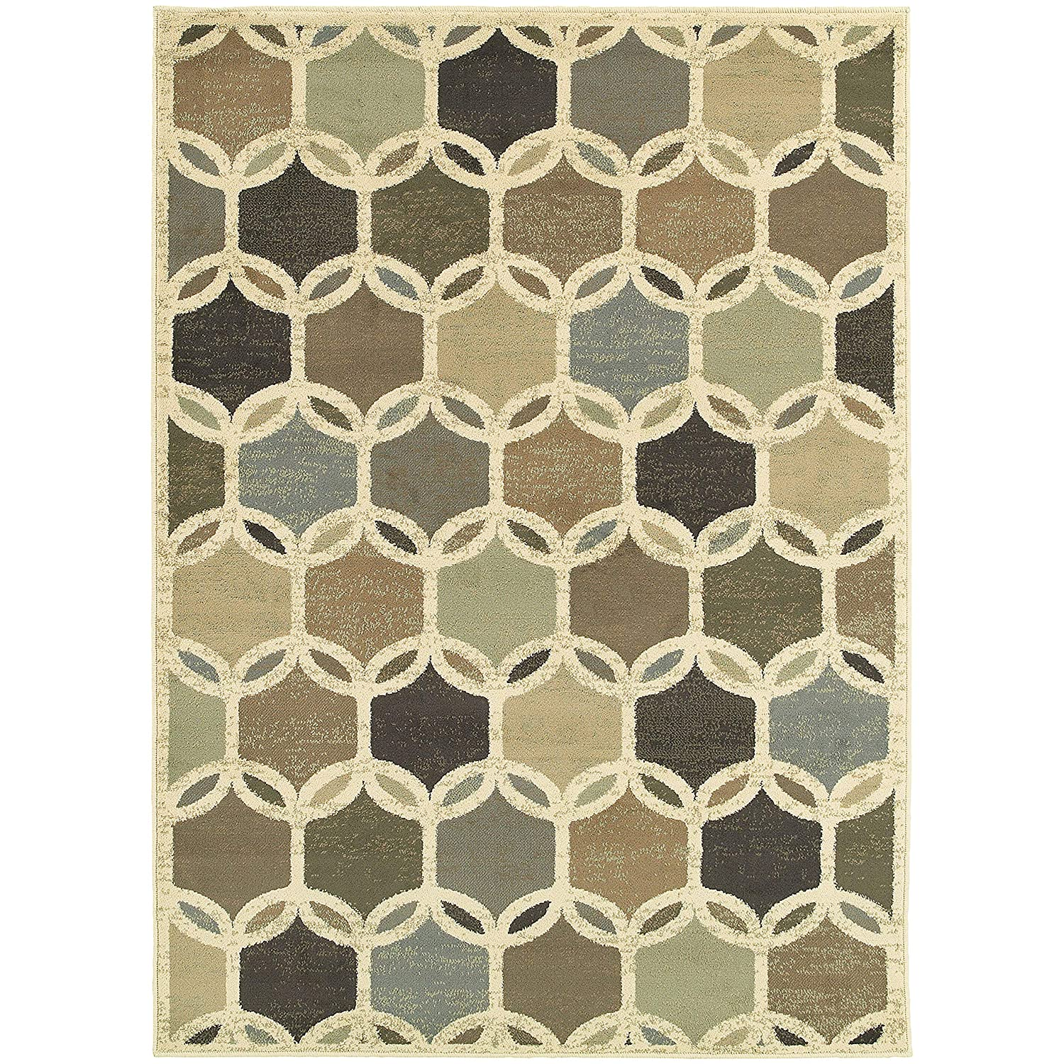 Christopher Knight Home CK-9W090 Bentley Geometric Indoor Area Rug 9ft 10in X 12ft 10in Ivory,Multi