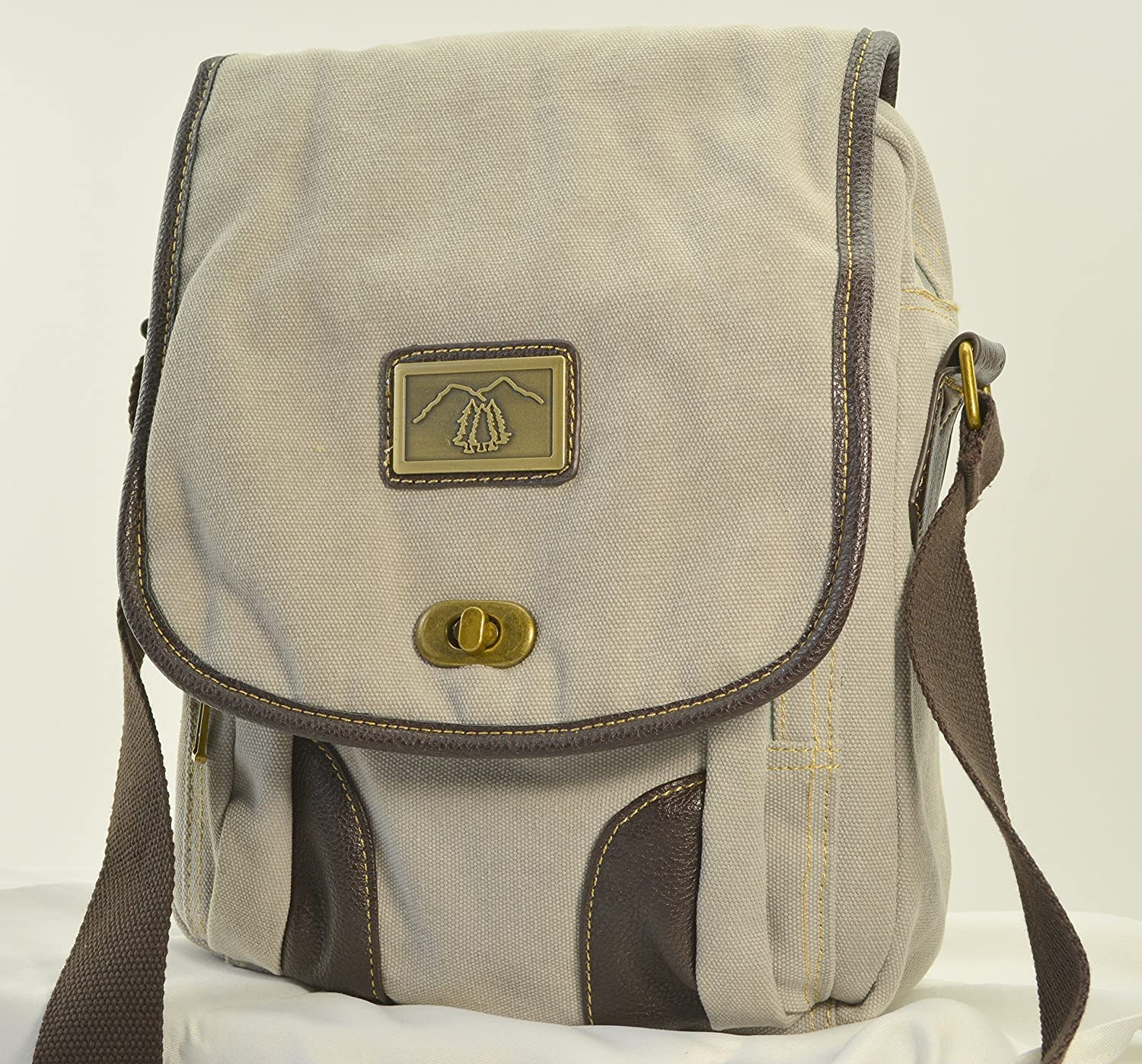 Pearl Grey Canvas Messenger Concealed Carry Purse / Bag by Camille Conceals - Large Semi Auto or Revolver - Room for a Tablet and More!