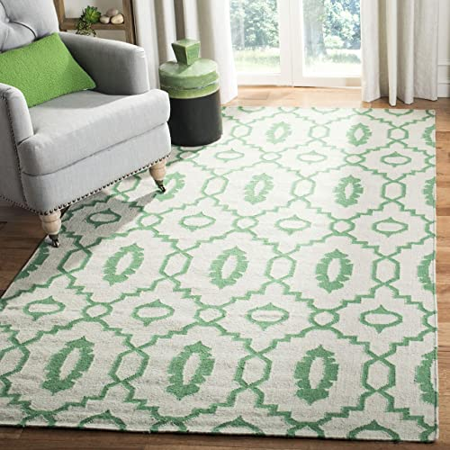 Safavieh Dhurries Collection DHU205B Hand Woven Ivory and Green Premium Wool Square Area Rug 8 Square