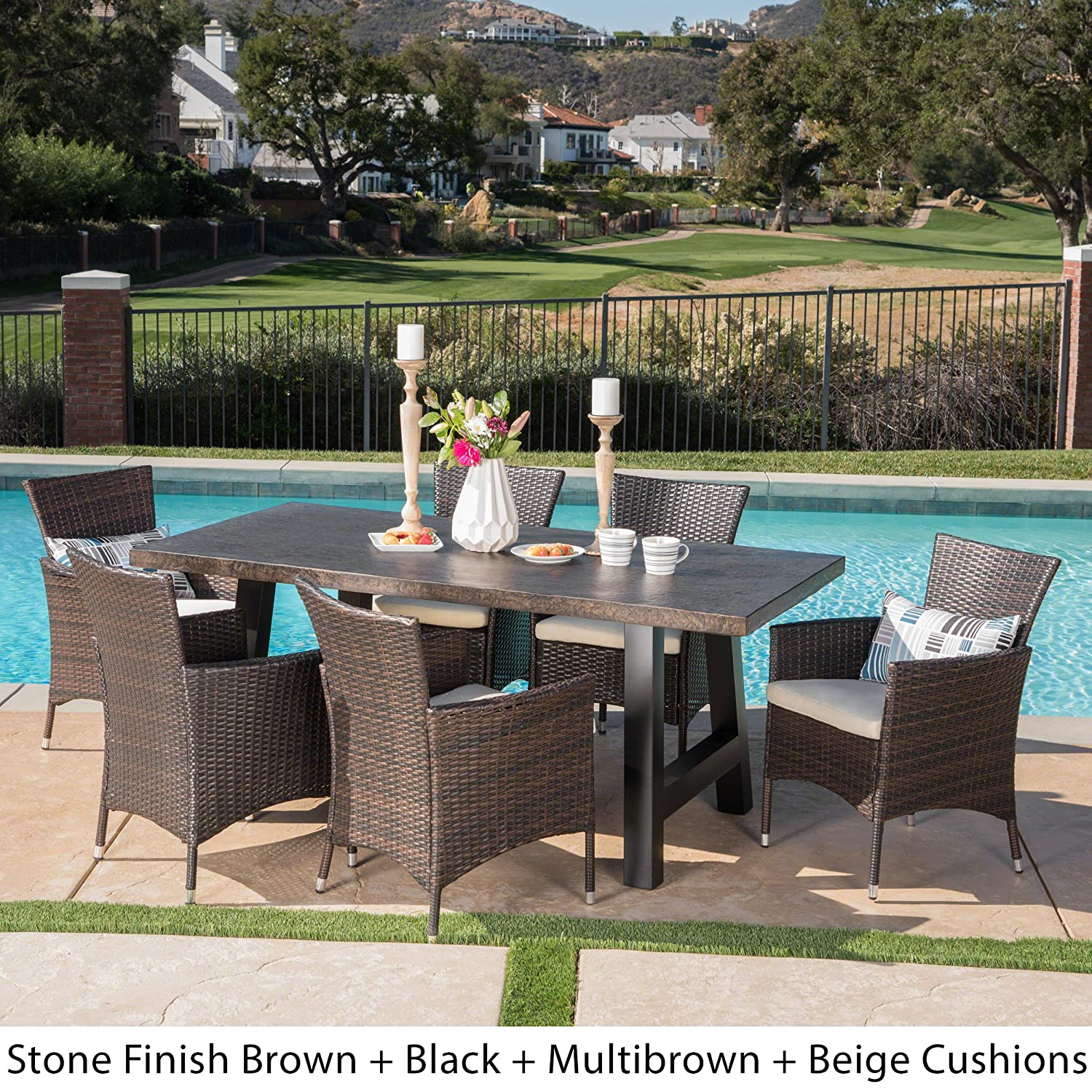 Great deal furniture muriel outdoor 7 piece multibrown wicker dining set with brown stone finish light weight concrete dining table and beige water