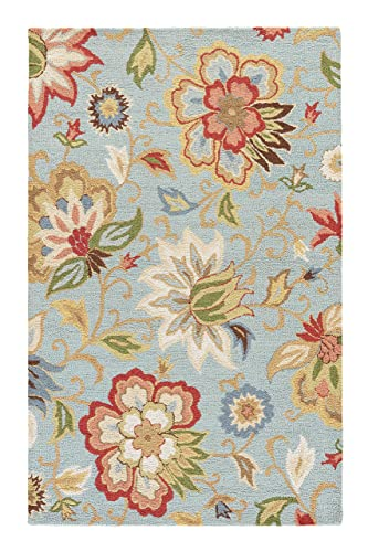 Jaipur Living Zamora Hand-Tufted Floral Leaves Blue Area Rug 2 X 3
