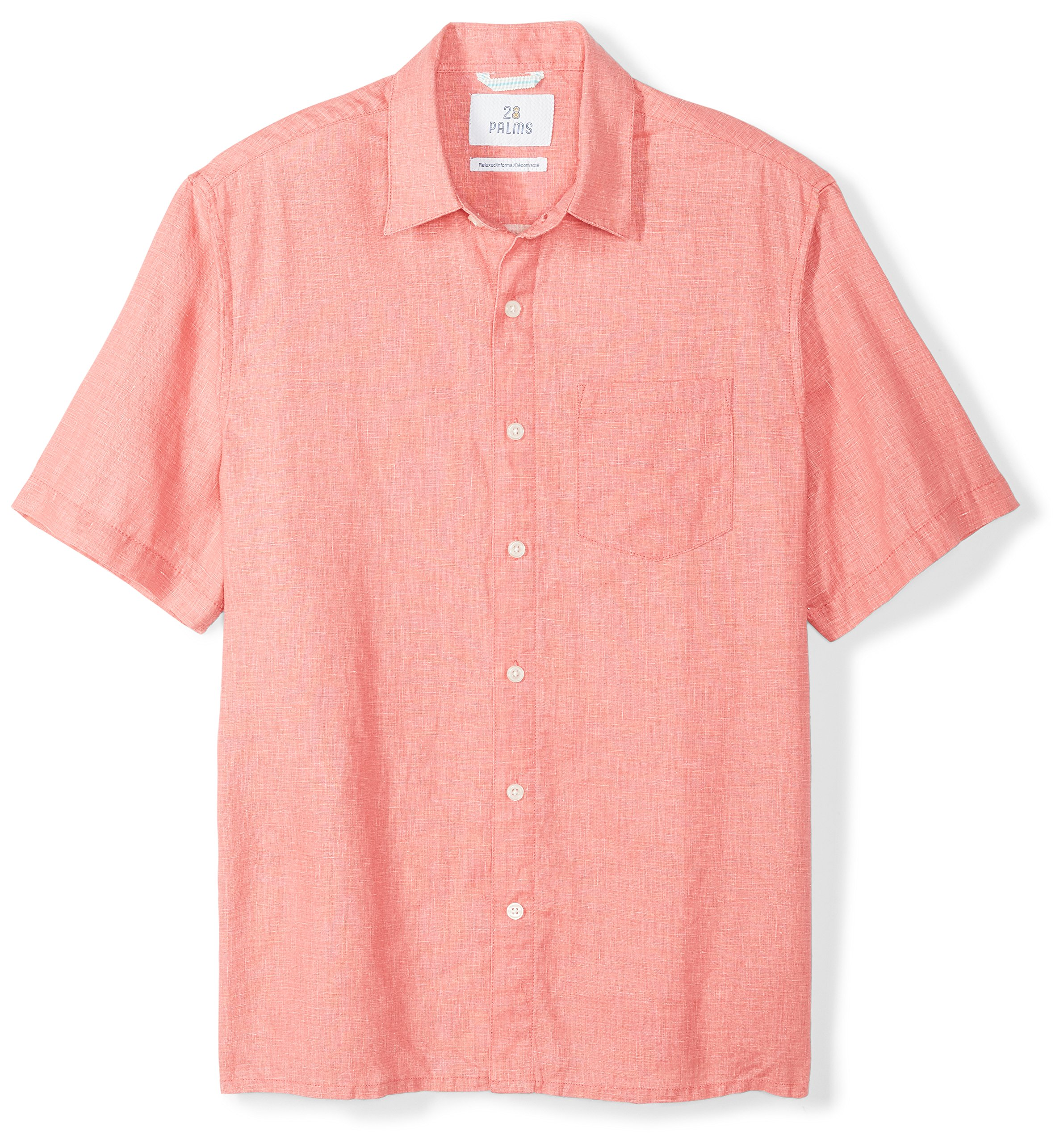 28 Palms Men's Relaxed-Fit Short-Sleeve 100% Linen Shirt, Coral, X-Large