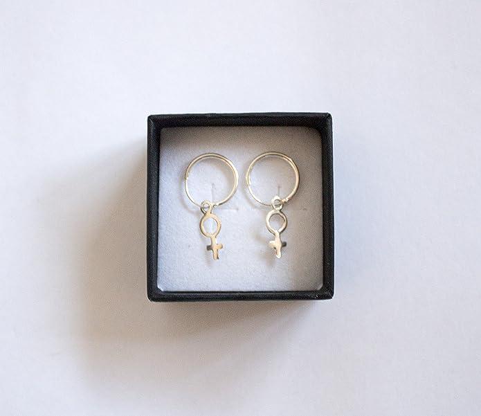 8f99c8b1497d Pendientes de plata de Ley 925 Símbolo de Venus Feminidad para regalo mujer  con caja elegante. Perfecto para aniversario
