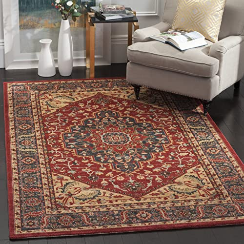Safavieh Mahal Collection MAH621C Traditional Oriental Navy and Red Area Rug 9 x 12