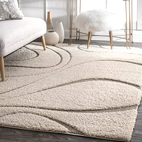 nuLOOM Carolyn Cozy Soft Plush Shag Rug, 5 3 x 7 6 , Cream