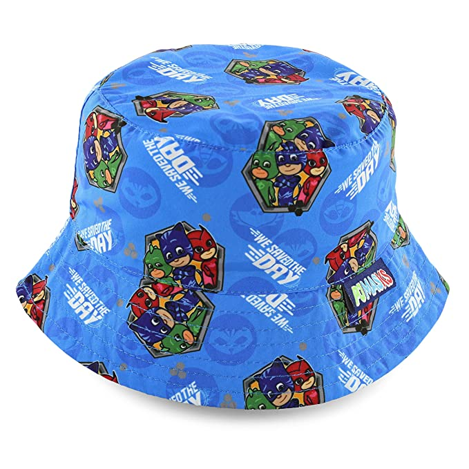 E one PJ Masks Boys Bucket Hat with Catboy, Owlette and Gekko Characters [