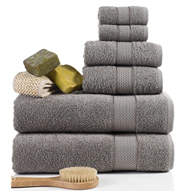 ixirhome Turkish Towel Set 6 Piece,100% Cotton, 2 Bath Towels, 2 Hand Towels and 2 Washcloths, Machine Washable, Hotel Quality, Super Soft and Highly Absorbent (Color: Light Army Green)