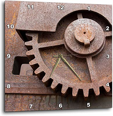 3dRose Danita Delimont - Objects - Norway, Spitsbergen, New London, Rusted marble mining machinery - 13x13 Wall Clock (dpp_257829_2)