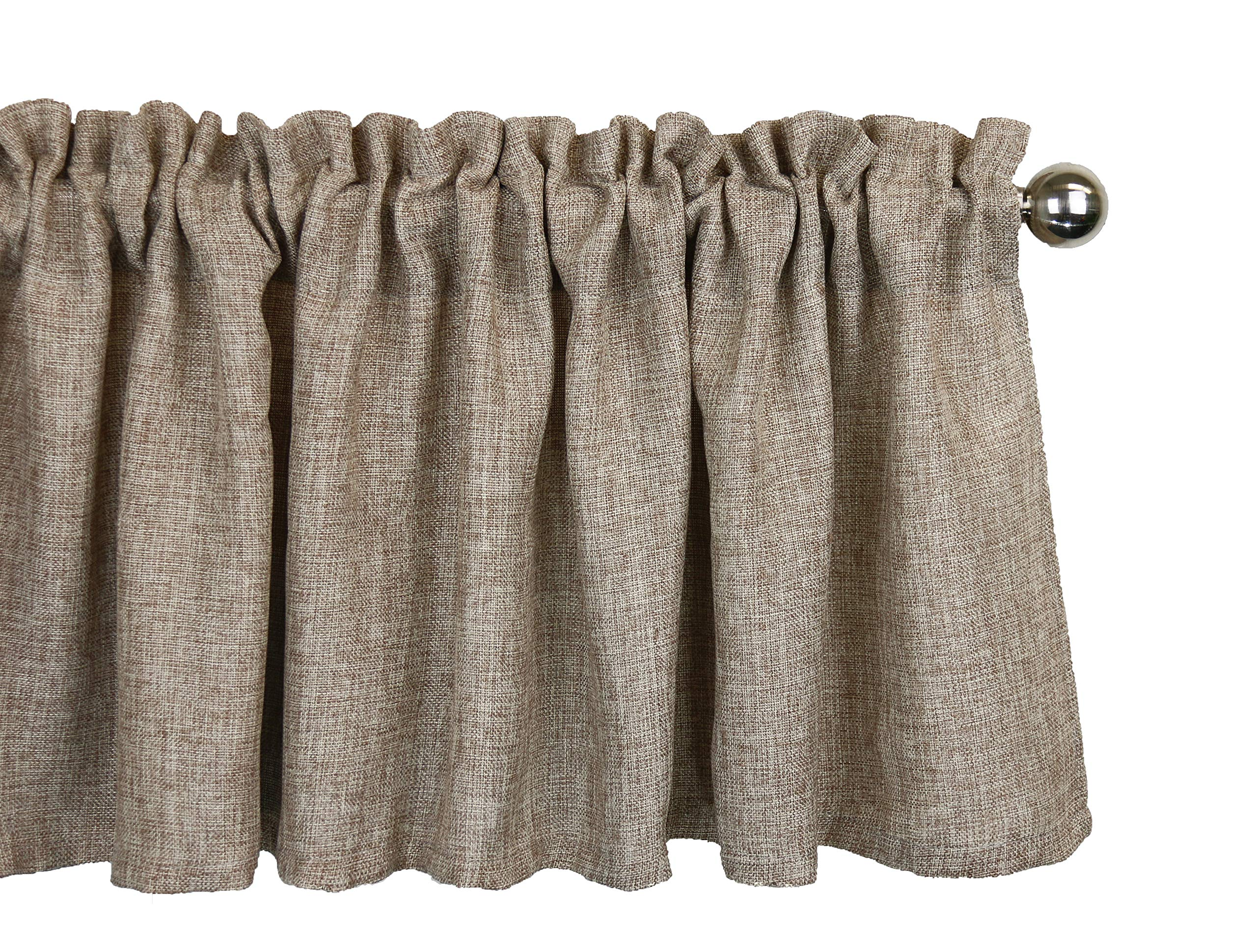 Aiking Home Pure 100% Faux Linen Window Valance - Size 56 inch x 16 inch, Wheat