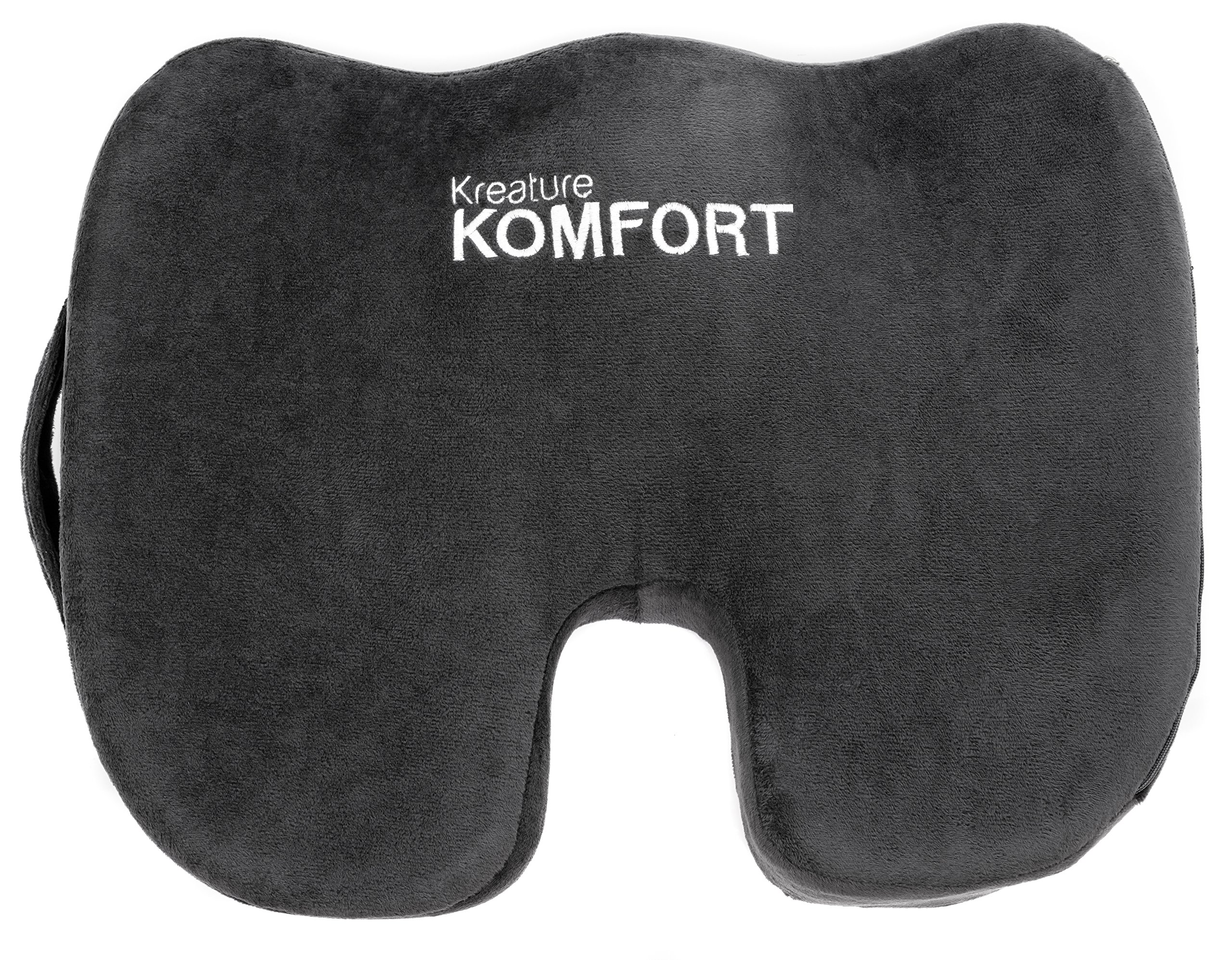 Kreature Komfort Orthopedic Memory Foam Seat Cushion, Relieves Coccyx Pain, Spine Issues, Stenosis, Tailbone, Back Aches, and Posture Issues