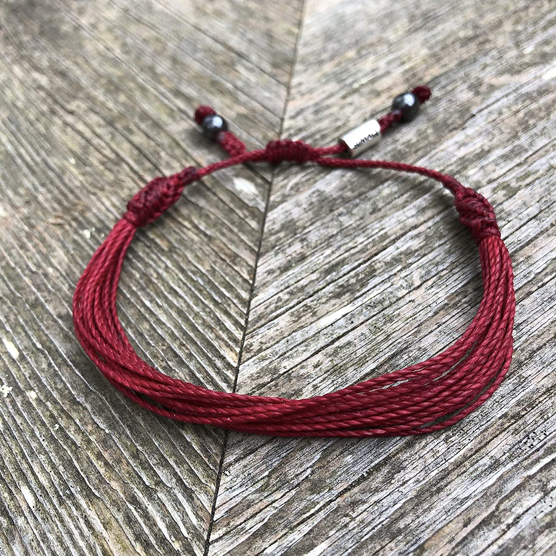 Burgundy Awareness Bracelet for Multiple Myeloma Ribbon Jewelry Meningococcal Meningitis Sickle Cell Anemia Adhesions Hughes Syndrome by RUMI SUMAQ