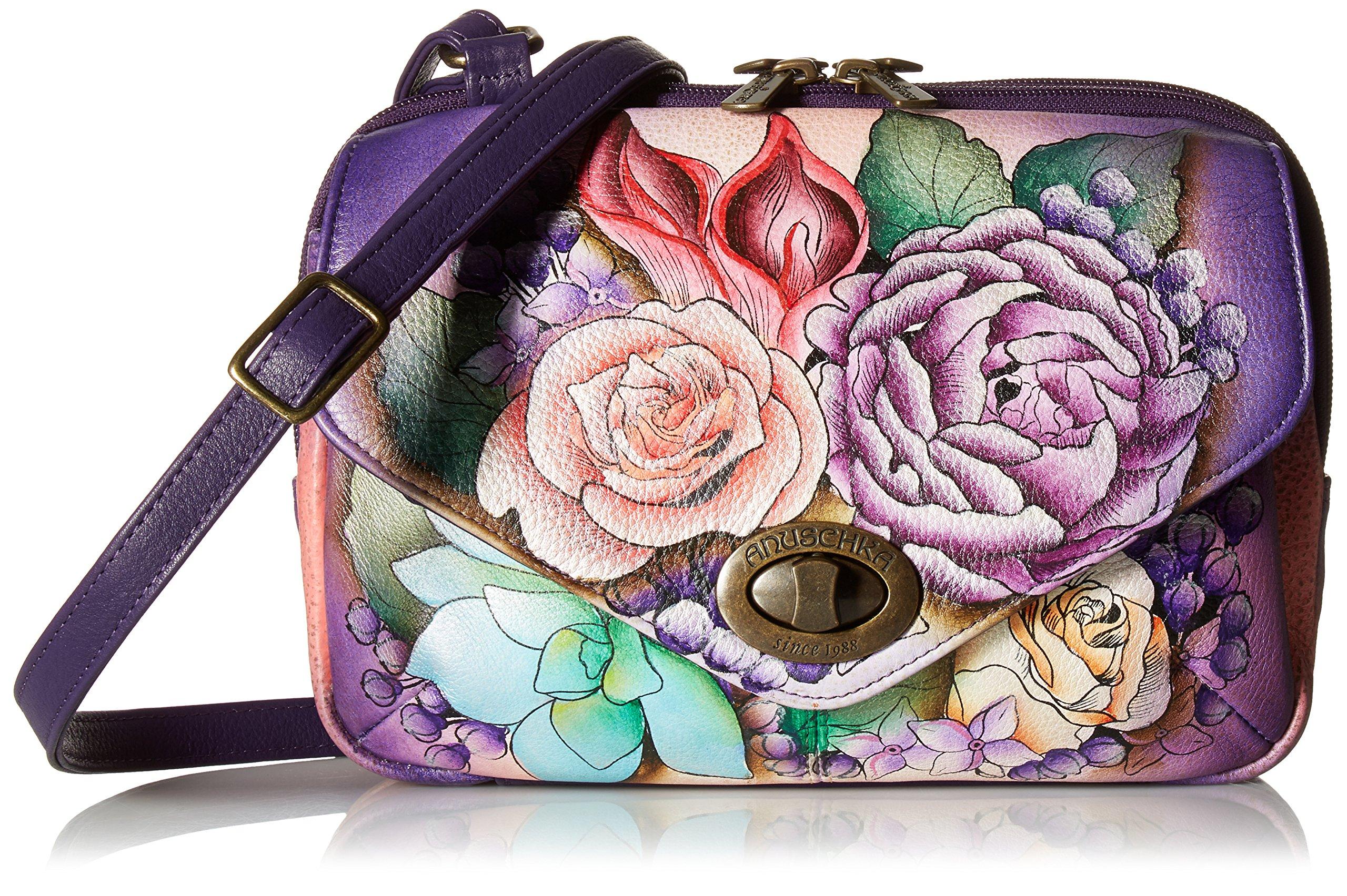 Anuschka Handpainted Painted Convertible Travel Organizer,Lush Lilac, Llc-Lush Lilac