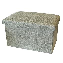 Petit coffre de rangement muni d'un couvercle – Repose-pied / Pouf avec rangement - Coffres de rangement textile – Handy Box signé Luxelu – Rectangle – Vert Olive