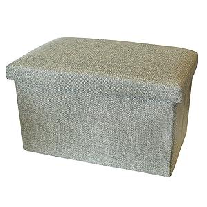 Pequeña caja de almacenamiento con tapa - Taburete de pie / Pouffee con almacenamiento - Cajas de almacenamiento de tela – Handy Box de Luxelu - Oblong - Verde oliva (Olive Green)