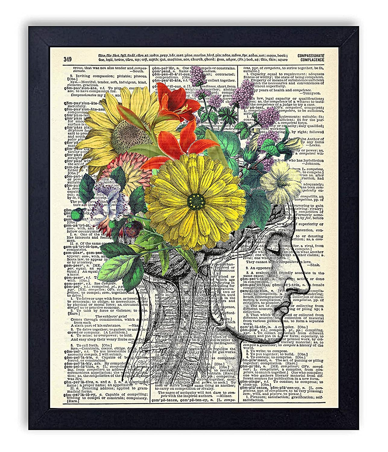Beautiful Mind Human Anatomy With Flowers Vintage Wall Art Upcycled Dictionary Art Print Poster 8x10 inches, Unframed