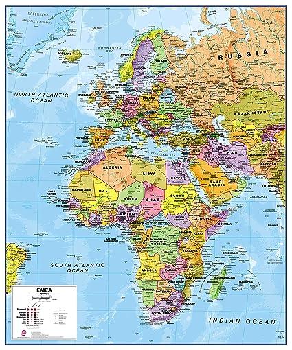 Maps International Political Europe Middle East Africa (EMEA) Map -  Laminated - 39 x 47