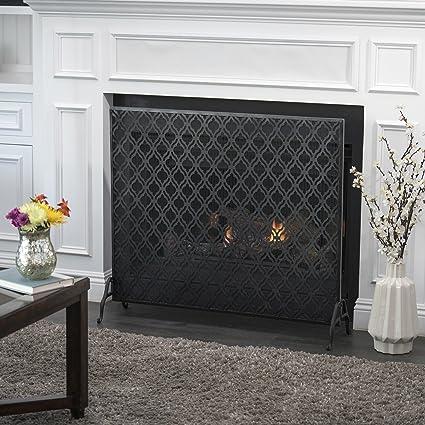 Amazon Com Great Deal Furniture Elmer Single Panel Black Iron Fire