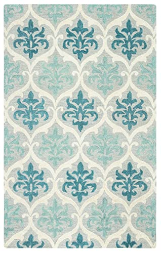 Rizzy Home Lancaster Collection Wool Area Rug, 5 x 8 , Blue Aqua Cream Grey Trellis