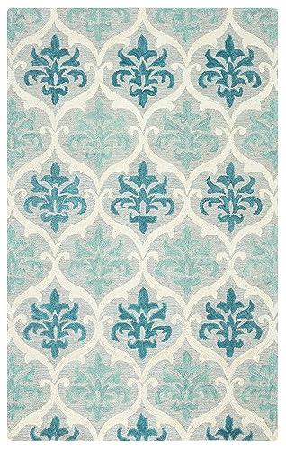Rizzy Home Lancaster Collection Wool Area Rug, 5 x 8 , Blue Aqua Cream Grey Trellis