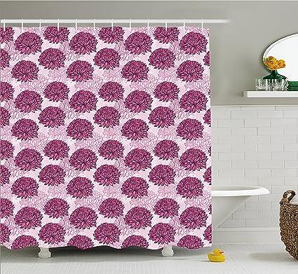 Ambesonne Pink Shower Curtain Hand Drawn Graphic Design Chrysanthemums Flourishing Flowers Natural Retro Art
