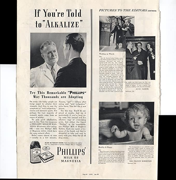 Amazon.com : Phillips Milk Of Magnesia If Youre Told To Alkalize Try This Remarkable Phillips Way Thousands Are Adopting 1937 Vintage Antique ...