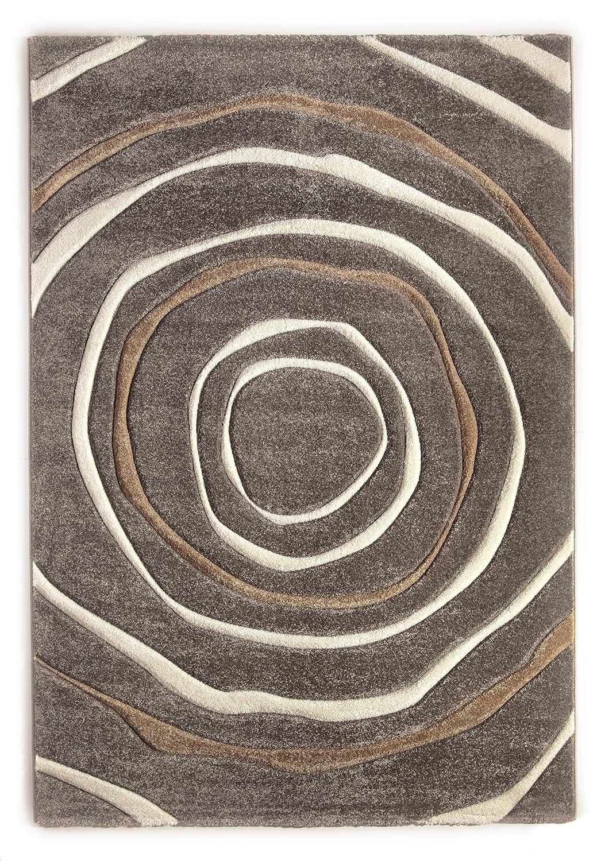 Teppich Modern Design Musterteppich Webteppich Kurzflor - Wohnzimmer, Esszimmer, Gästezimmer – Kreis-Design Braun/Creme – 3-D Effekt – komplett umkettelt, 15mm Flor, pflegeleicht – 160x230cm