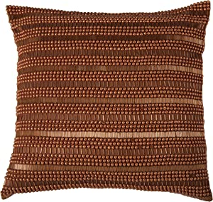 Rizzy Home T07014 Hand Applique of Beads and Sequins Decorative Pillow, 20 by 20-Inch, Orange