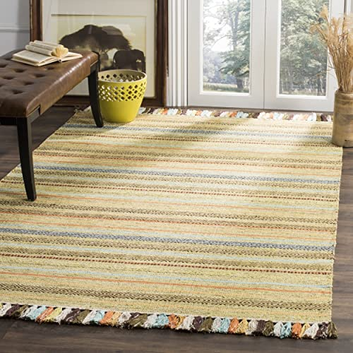 Safavieh Montauk Collection MTK901G Green and Multi Area Rug 5 x 8