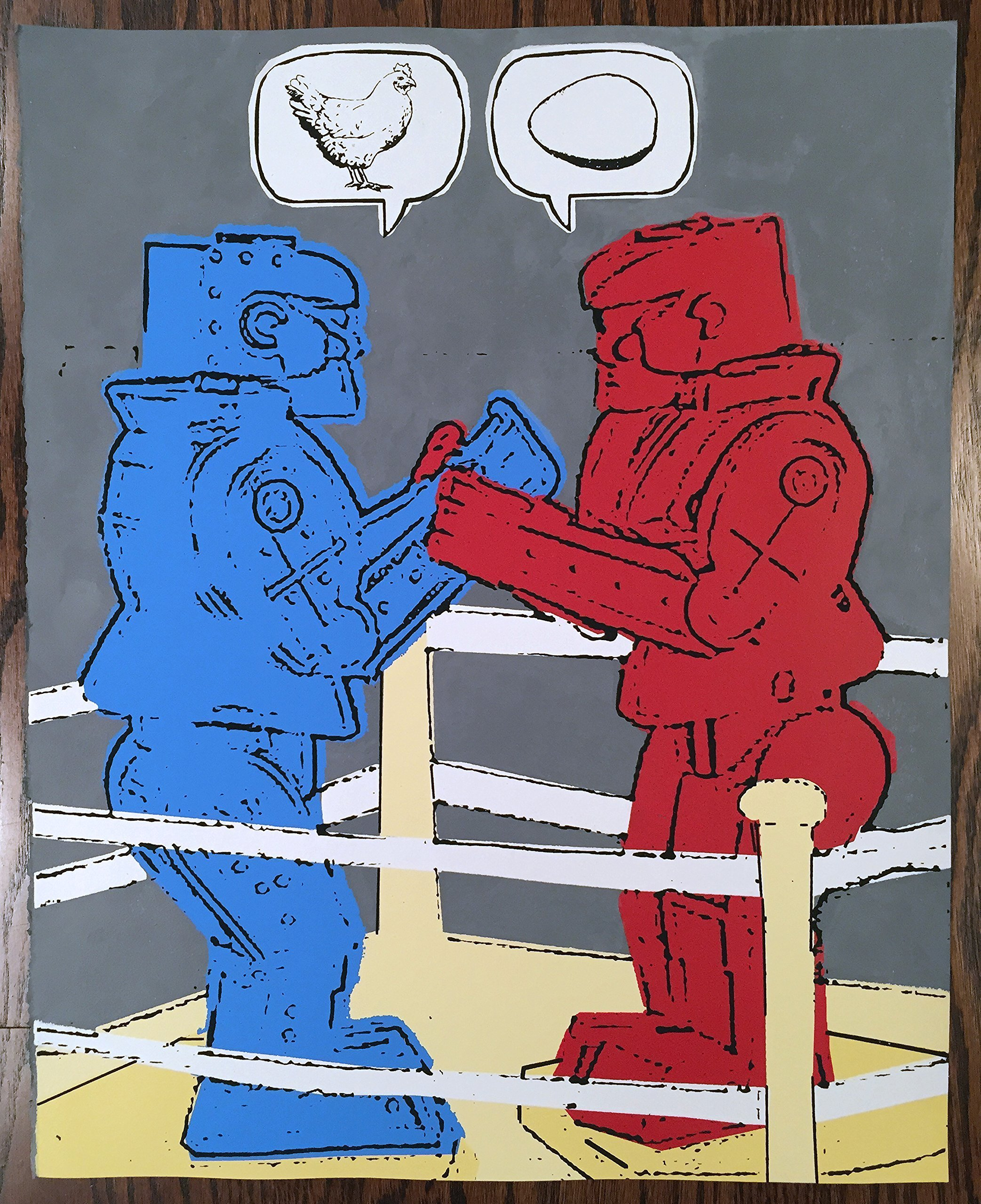16'' x 20'' - Which Came First? - Limited Edition Hand Silk Screened Art Painting Chicken Egg & Robots! by Johnston America