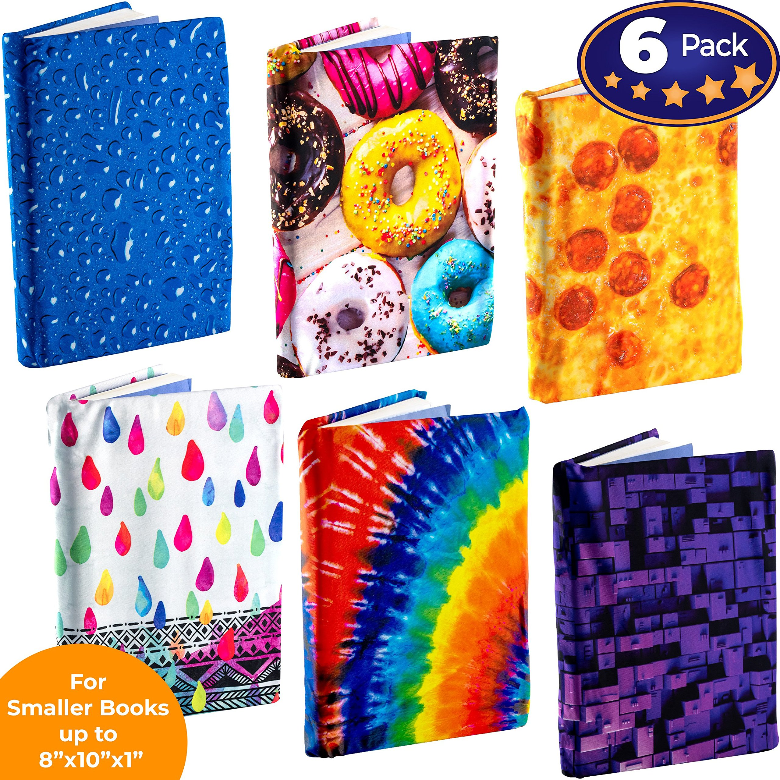 Book Sox Stretchable Book Cover: Standard Size 6 Design Print Pack. Fits Smaller/Thinner Hardcover Textbooks up to 8x10. Adhesive-Free, Nylon Fabric Protector. Washable and Reusable School Supply