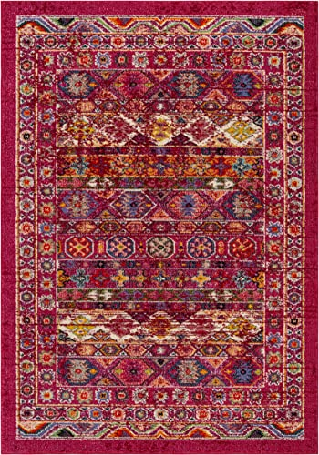 Safavieh Madison Collection MAD307R Bohemian Distressed Area Rug, 8 x 10 , Fuchsia Fuchsia