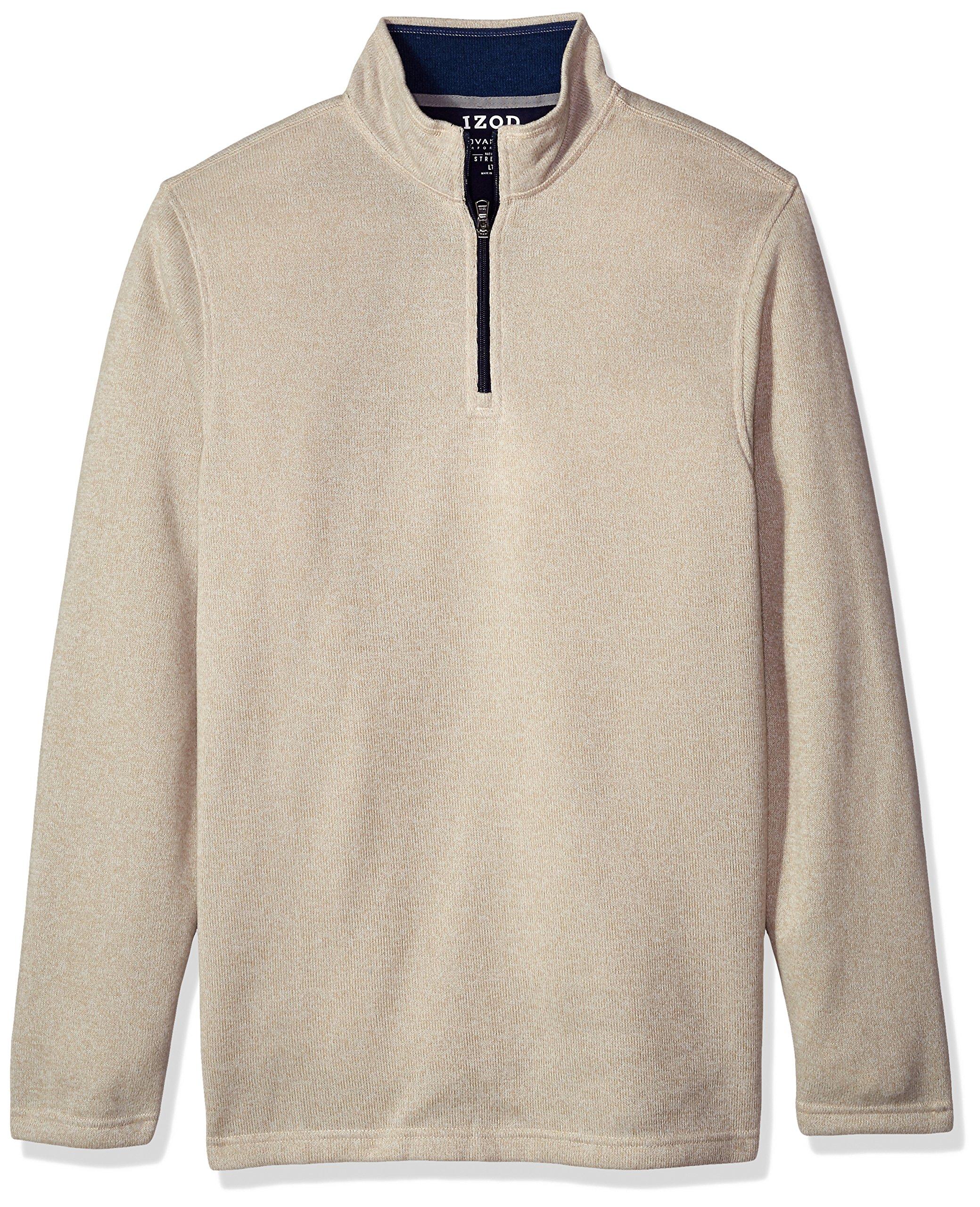 IZOD Men's Big Saltwater Solid 1/4 Zip Sweater, Rock Beige Heather, 4X-Large Tall