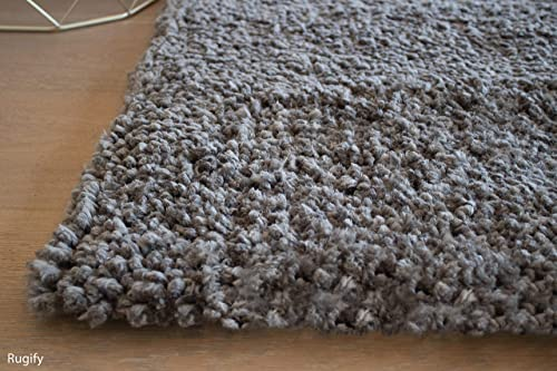 LA Solid Medium Pile Hand-Woven Shag Shaggy Fluffy Fuzzy Furry Soft Modern Contemporary Decorative Thick Plush High Pile Large 8-Feet-by-10-Feet Polyester Made Area Rug Carpet Rug Gray Grey Color