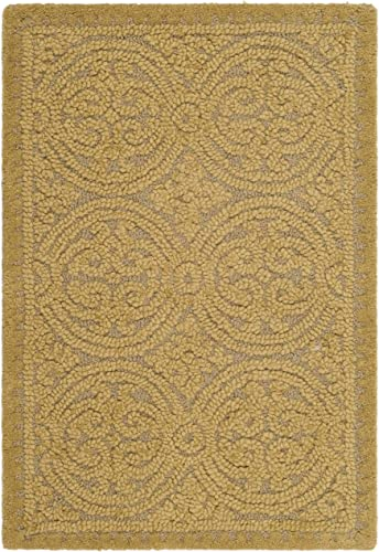 Safavieh Cambridge Collection CAM233A Handcrafted Moroccan Geometric Light Gold and Dark Gold Premium Wool Area Rug 2 x 3