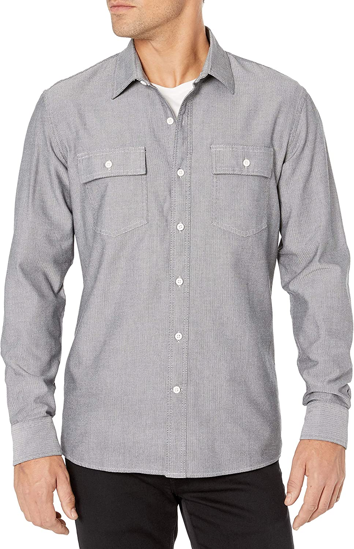 Goodthreads Standard-Fit Long-Sleeve Plaid Herringbone Shirt Uomo Marchio