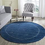 Safavieh Himalaya Collection HIM583A Handmade Blue Premium Wool Round Area Rug (6' Diameter)