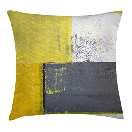 Amazon Ambesonne Grey And Yellow Throw Pillow Cushion Cover Beauteous Grey And Yellow Decorative Pillows
