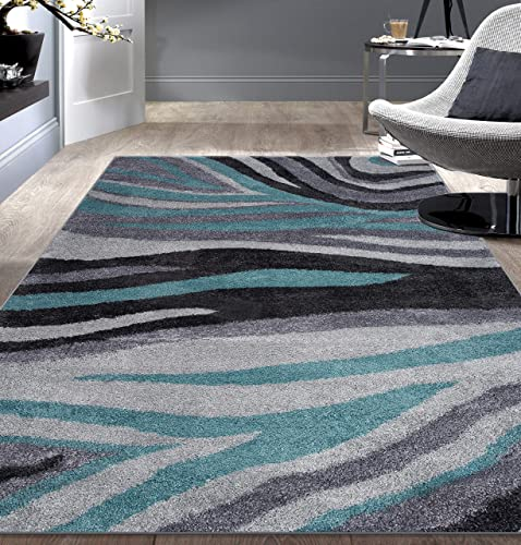 "Rugshop Contemporary Abstract Ultra Soft Shag Area Rug 7' 10"" x 10' Blue"