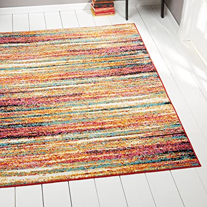 Amazon Com Home Dynamix Splash Cellis Modern Area Rug 6 6 X 9 2 Multi Color Red Yellow Pink Furniture Decor